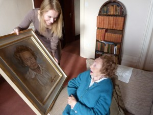Delivering the final portrait to my Aunty Margery.